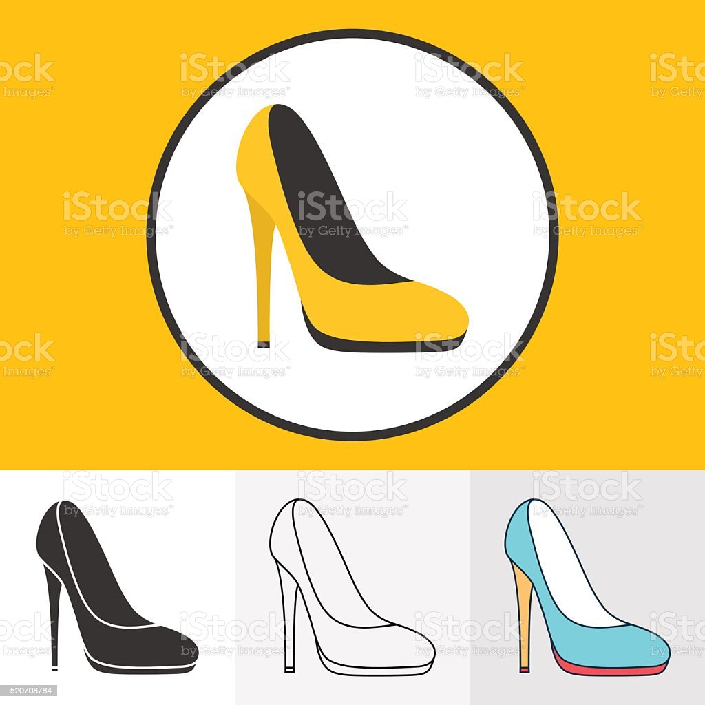 High heeled shoes icons vector art illustration