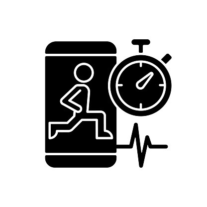High intensity and intervals workout black glyph icon