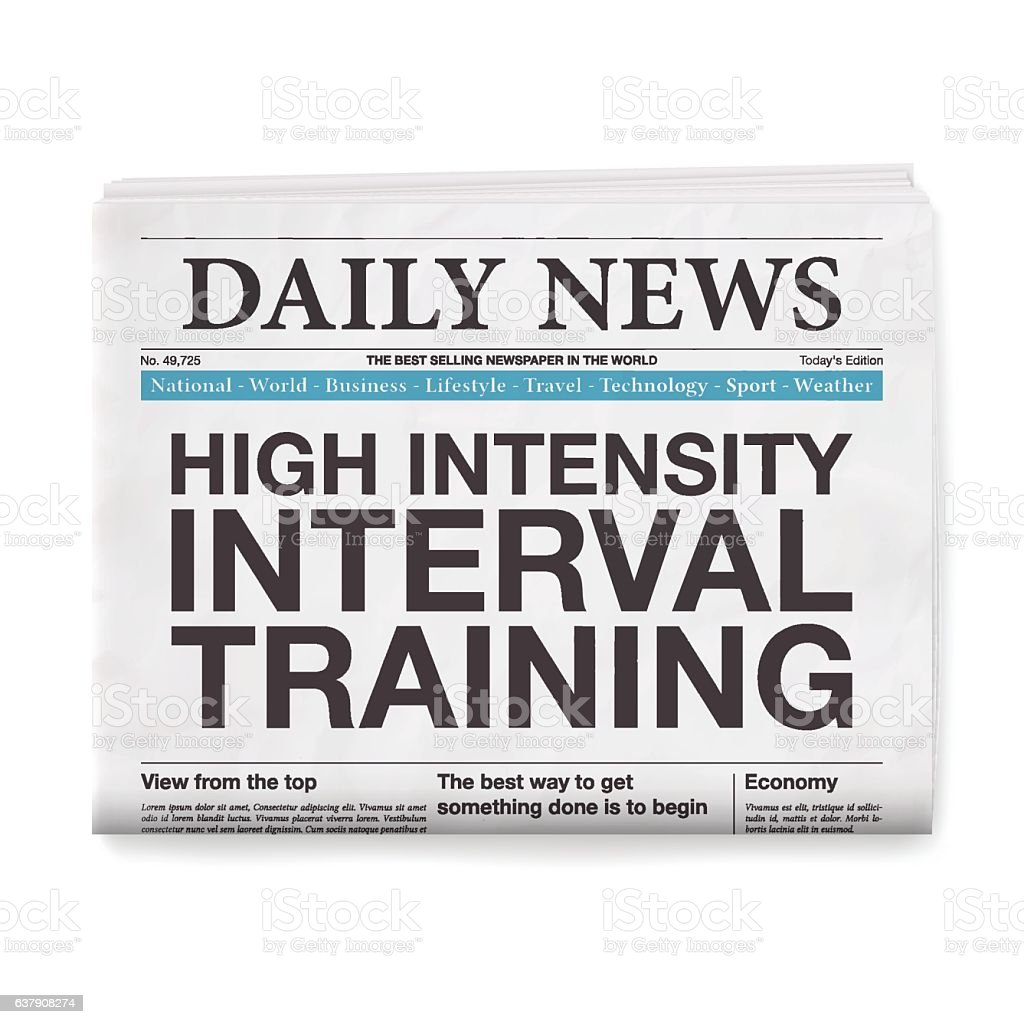 High Intensity Interval Training Headline. Newspaper isolated on White Background vector art illustration