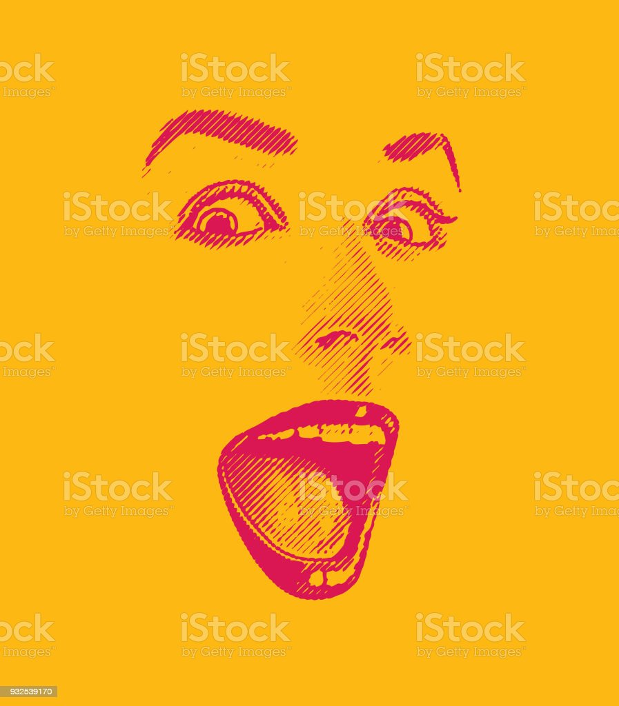 High key Engraving of Woman's eyes and lips, with happy, surprised expression vector art illustration