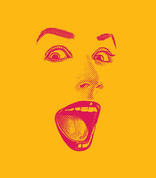 高いキーの女性彫刻の目と唇、幸せ、驚いた表情で - 笑顔 女性点のイラスト素材/クリップアート素材/マンガ素材/アイコン素材