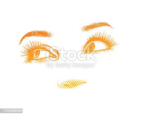 istock High key Engraving of Woman's eyes 1223559059