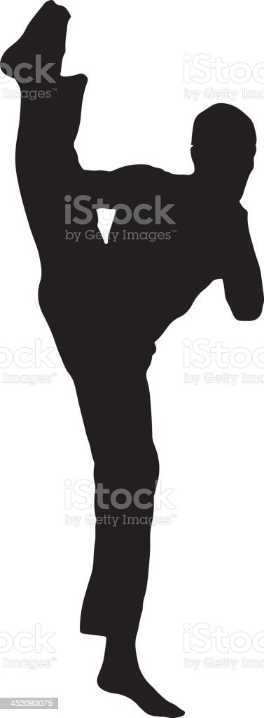 High kick silhouette royalty-free stock vector art