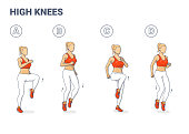 istock High knees exercise woman colorful cartoon vector illustration concept 1273899582