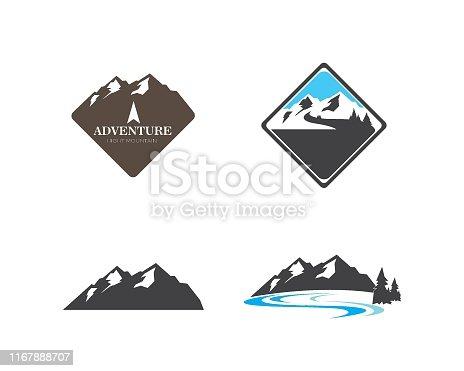 High Mountain icon Logo of adventure  Template