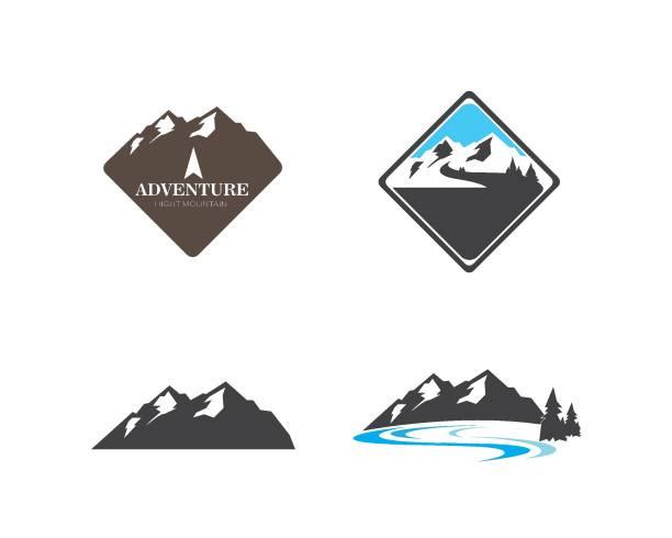 ilustrações de stock, clip art, desenhos animados e ícones de high mountain icon logo of adventure  template - river