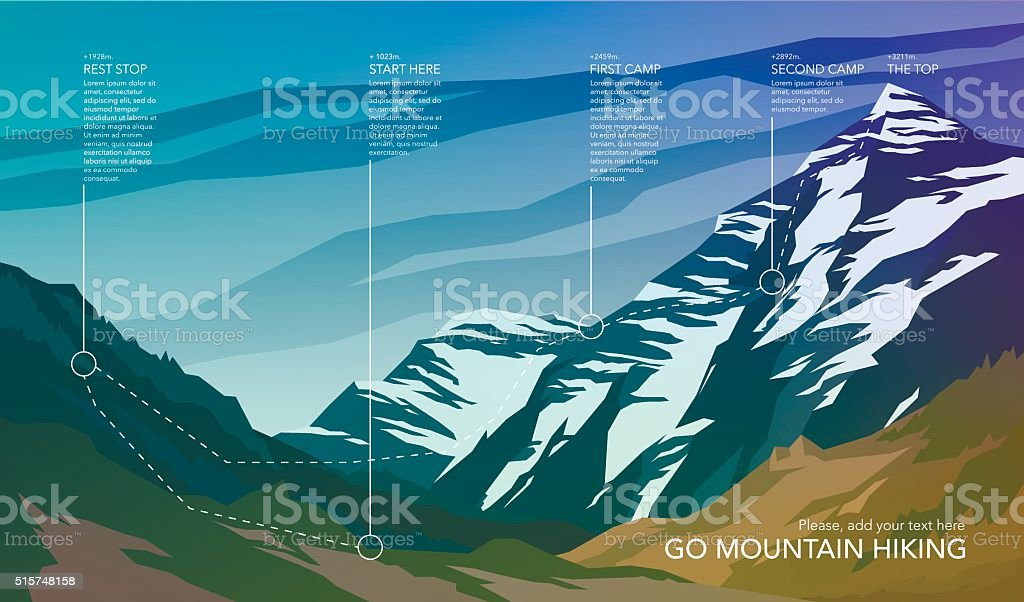 High mountain landscape infographic. vector art illustration