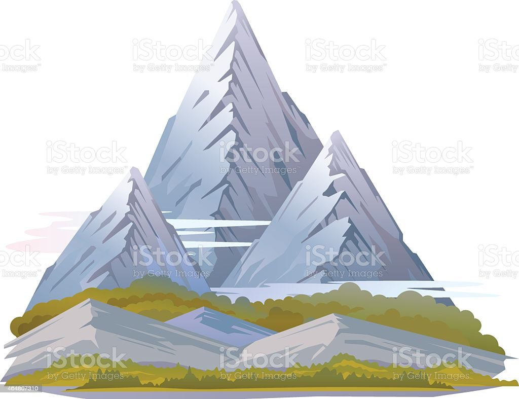 High Mountain Landscape vector art illustration