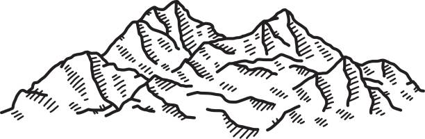 high mountain - black and white mountain stock illustrations, clip art, cartoons, & icons