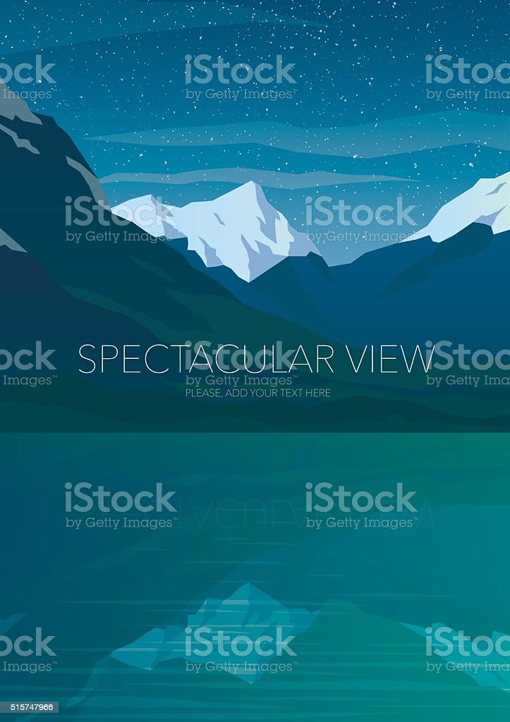 High mountains and calm lake water landscape. vector art illustration