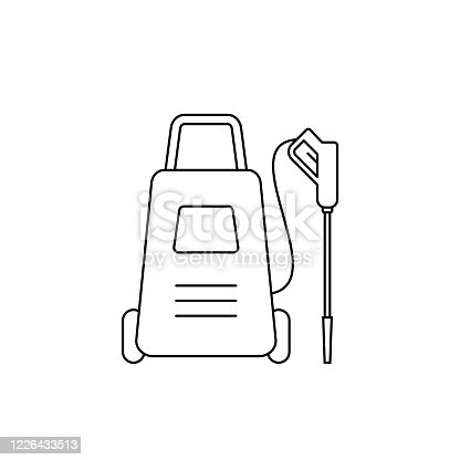 istock High pressure washer line icon. Disinfection concept. Power cleaner with spray gun. House cleaning tool. 1226433513