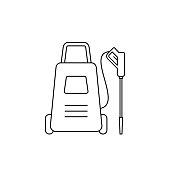 Car washing appliance. Black outline on white background. Vector illustration, flat, clip art.