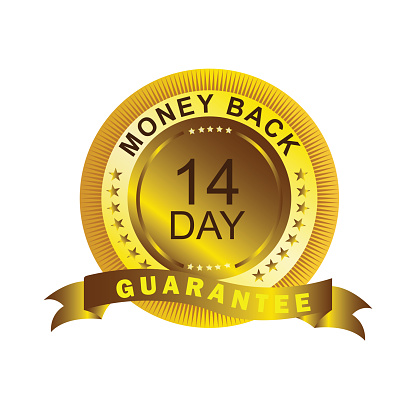 High quality 14 day money back guaranteed badge, seal, sign with gold ribbon on white background