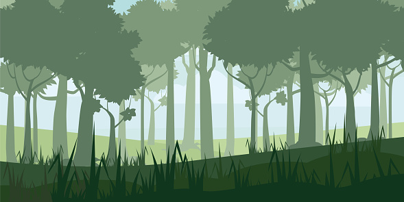 A high quality background of landscape with deep deciduous forest. Cartoon style. Vector, illustratoin