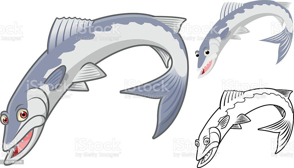 High Quality Barracuda Cartoon Character vector art illustration