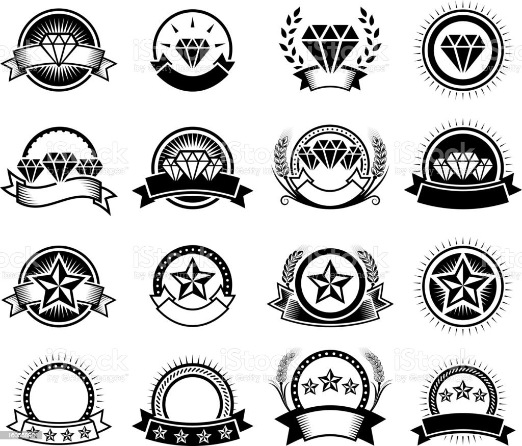 High Quality Diamond Service Badges black and white icon set royalty-free stock vector art