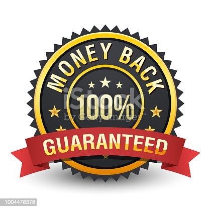 istock High quality heavy 100% money back guarantee badge on white background. 1004476378