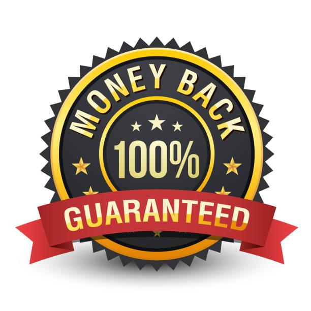 hochwertige schwere 100 % geld zurück garantie abzeichen auf weißem hintergrund. - reliability stock-grafiken, -clipart, -cartoons und -symbole