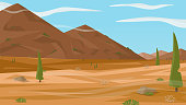 A high quality horizontal background of landscape with desert, mountains, trees, rocks, clouds. Simple cartoon 2d landscape for game. Flat style vector illustration.