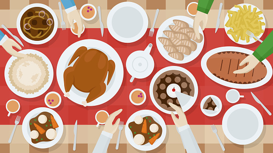 A high quality horizontal background of table with dishes and people's hands top view. Festive dinner. View from above. Simple cartoon template. Flat style vector illustration.