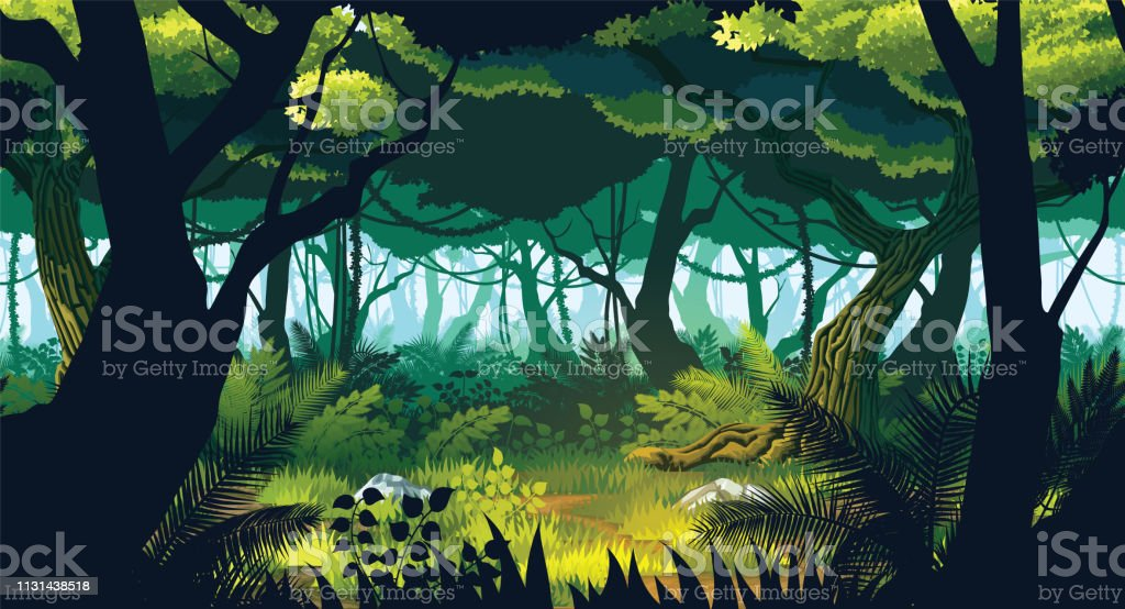 A high quality horizontal seamless background of landscape with deep jungle. - Векторная графика Векторная графика роялти-фри