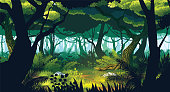 A high quality horizontal seamless background of landscape with deep jungle. Horizontal tiles. For use in developing, prototyping  adventure, side-scrolling games or apps.
