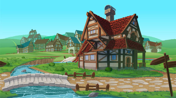 A high quality horizontal seamless background - village. A high quality horizontal seamless background - village. Old European village. Summer background with buildings use for infographics and side-scroller games. village stock illustrations