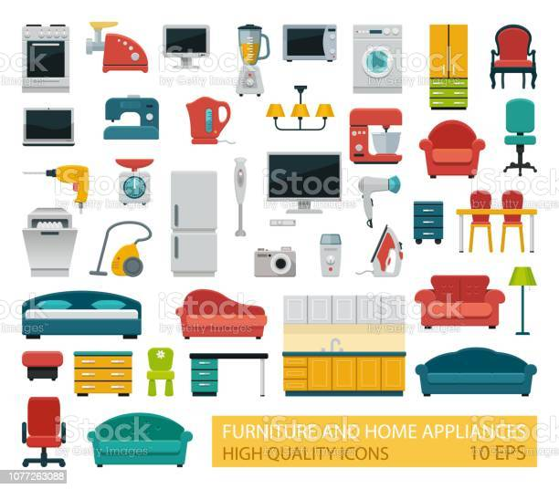 High quality icons of home appliances and furniture vector id1077263088?b=1&k=6&m=1077263088&s=612x612&h=vjmr0ssle5w nlizh3jvyl0kc9y8pldey6rc8kg52fs=