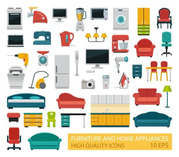 hochwertige icons haushaltsgeräte und möbel - haushaltsmaschine stock-grafiken, -clipart, -cartoons und -symbole