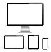 High quality illustration set of modern computer monitor, laptop, digital tablet and mobile phone with blank screen. Isolated on white background. vector eps 10