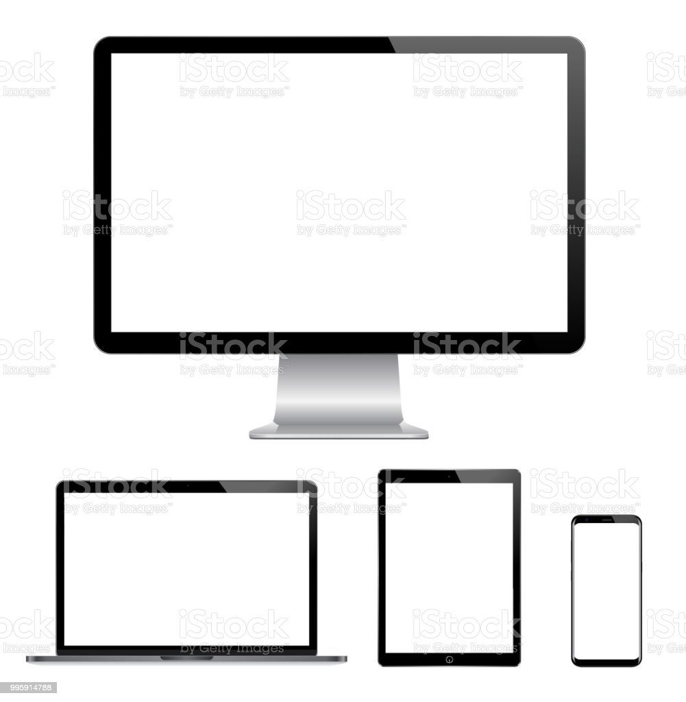 High quality illustration set of modern computer monitor, laptop, digital tablet and mobile phone with blank screen vector art illustration