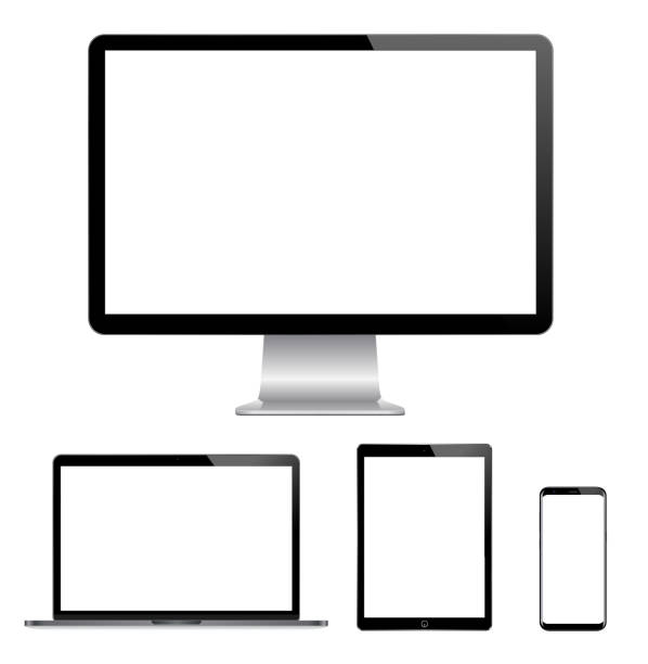 High quality illustration set of modern computer monitor, laptop, digital tablet and mobile phone with blank screen High quality illustration set of modern computer monitor, laptop, digital tablet and mobile phone with blank screen. Isolated on white background. vector eps 10 desktop pc stock illustrations