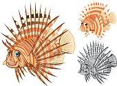 High Quality Lionfish Cartoon Character