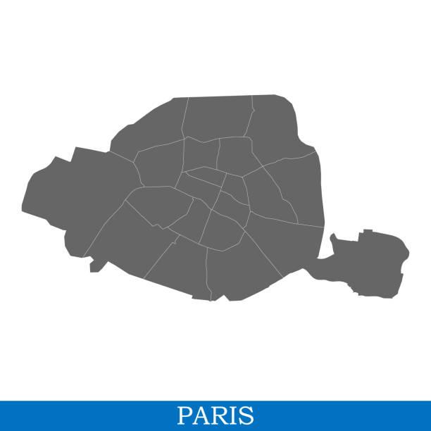 bildbanksillustrationer, clip art samt tecknat material och ikoner med hög kvalitet karta city av frankrike - paris