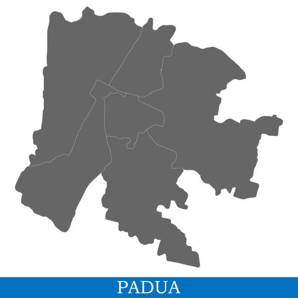hochwertige karte stadt italiens - padua stock-grafiken, -clipart, -cartoons und -symbole