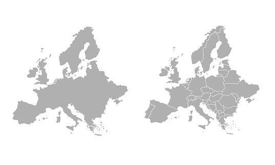 High quality map Europe with borders of the regions