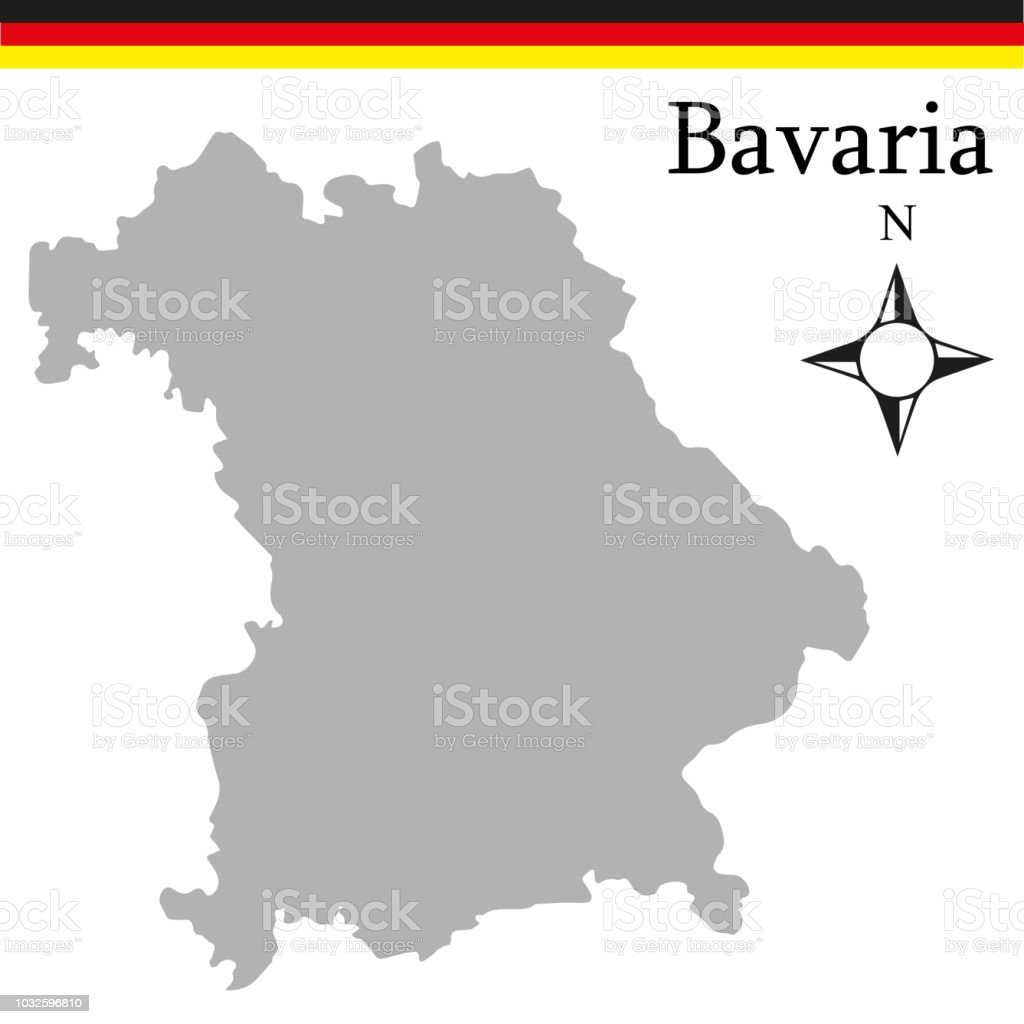 Map Of Germany Bavaria.High Quality Map Of Bavaria Is A State Of Germany Stock Vector Art