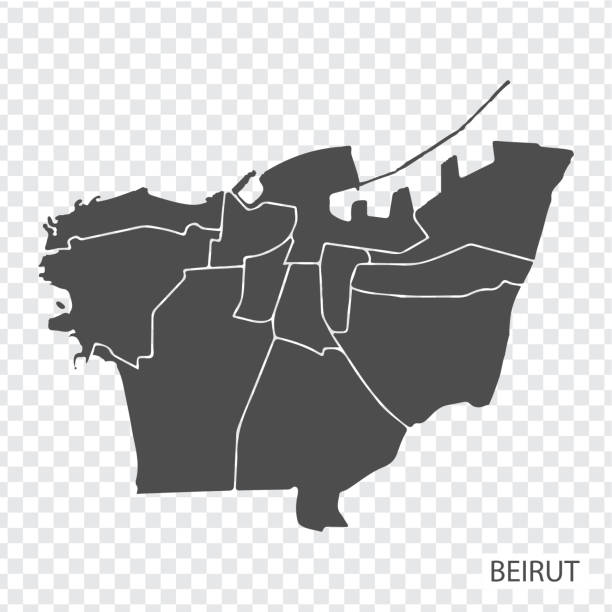 high quality map of beirut is a city  of lebanon, with borders of the regions. map of beirut for your web site design, app, ui. eps10. - beirut stock illustrations