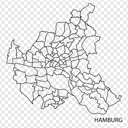 High Quality map of Hamburg is a city  The Germany, with borders of the regions. Map of Hamburg for your web site design, app, UI. EPS10.