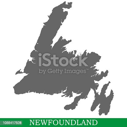 High quality map of Newfoundland is the island of Canada