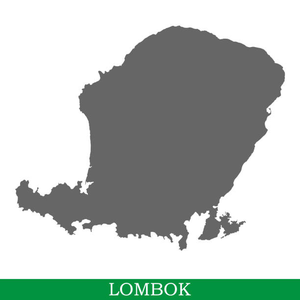 High quality map of island High quality map of Lombok is the island of Indonesia lagbok stock illustrations