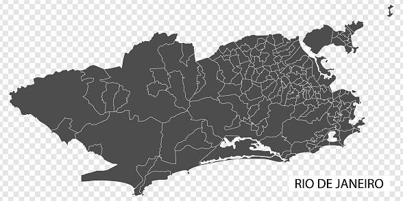 High Quality map of Rio de Janeiro is a city  Brazil, with borders of the regions. Map of Rio de Janeiro for your web site design, app, UI. EPS10.