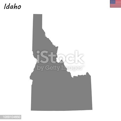 High Quality map state of United States. Idaho
