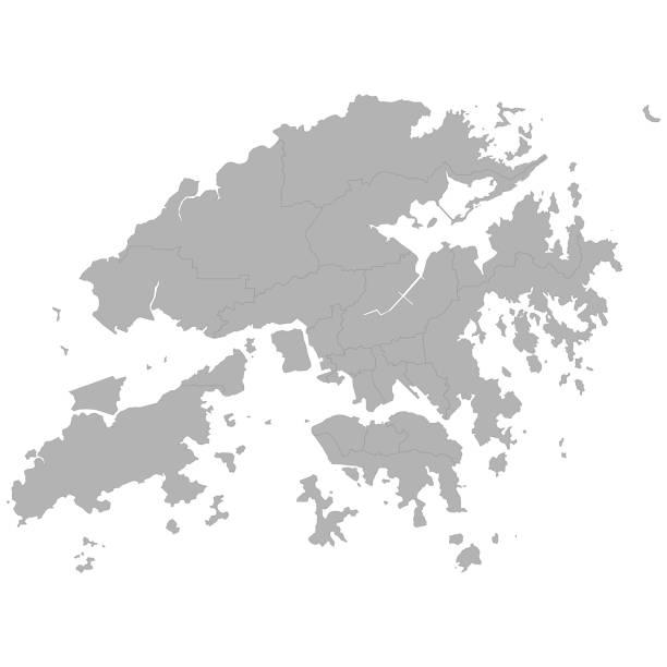 illustrazioni stock, clip art, cartoni animati e icone di tendenza di high quality map - hong kong