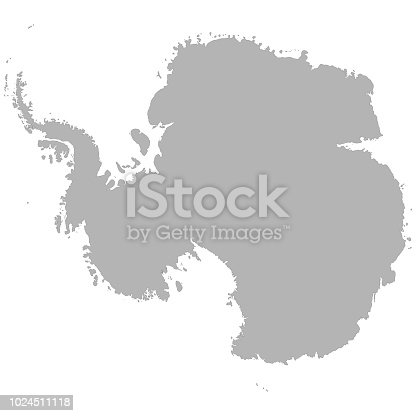 High quality map of Antarctica with borders of the regions on white background