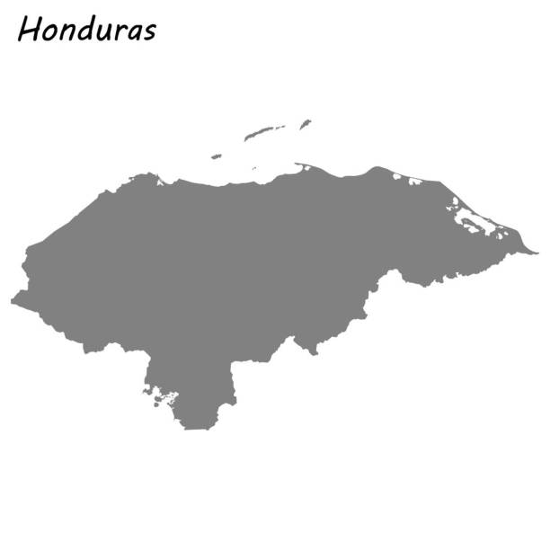 High quality map High quality map of Honduras honduras stock illustrations