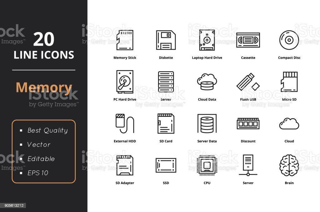 20 High quality Memory Line Icon royalty-free 20 high quality memory line icon stock illustration - download image now