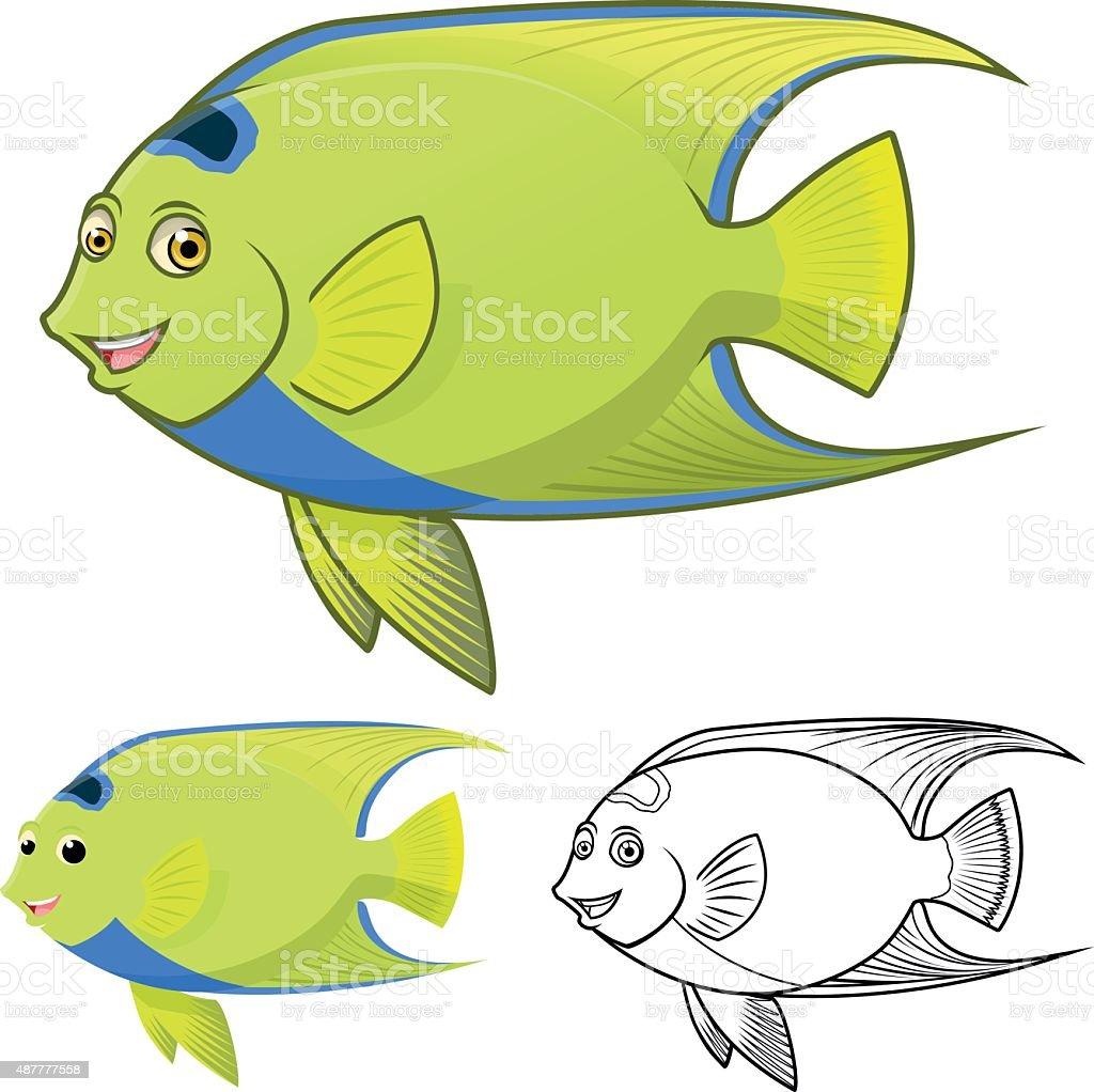 High Quality Queen Angel Fish Cartoon Character Stock Vector Art ...