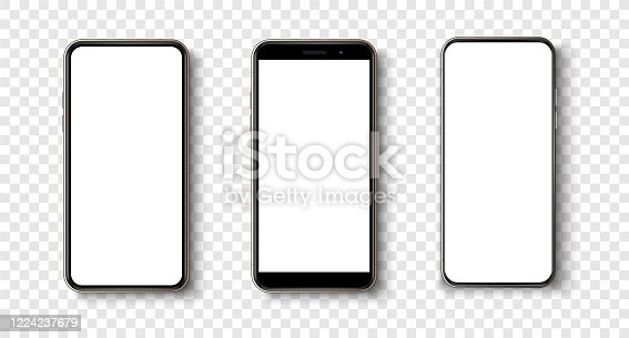 High quality realistic trendy  no frame smartphone with blank white screen.
