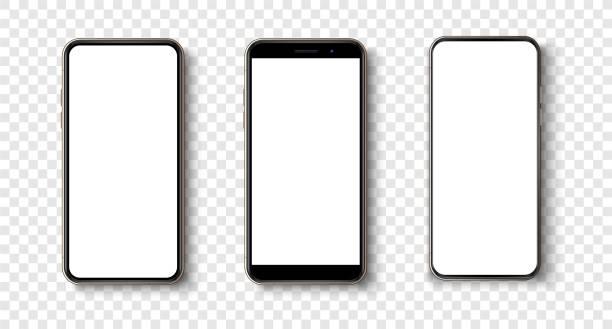 illustrazioni stock, clip art, cartoni animati e icone di tendenza di smartphone realistico di alta qualità alla moda senza cornice con schermo bianco vuoto. telefono fittizio per la dimostrazione dell'app dell'interfaccia utente visiva. concetto di dispositivo set mobile vettoriale. smartphone mockup dettagliato - smart phone